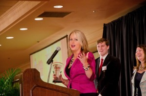 Trish accepts the Best Place to Work in St. Louis award