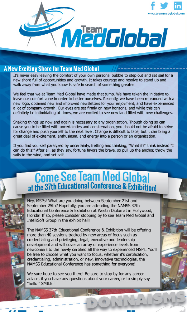 Team Med Global Monthly Newsletter - Think Tank Public Relations